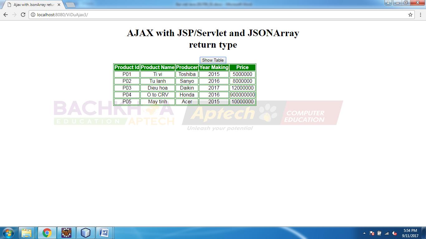 Sử dụng Ajax trong lập trình JavaServer Pages